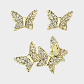 Caromay Full Butterfly Champagne-Gold Earrings (E3587)