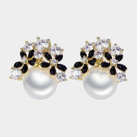 Caromay Blooming Yard Black Earrings (E3599)