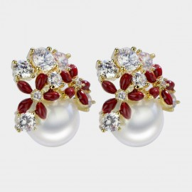 Caromay Blooming Yard Red Earrings (E3599)