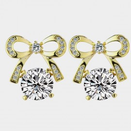 Caromay Veedle Bowknot Champagne-Gold Earrings (E3615)