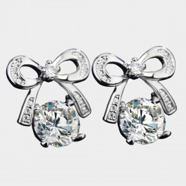 Caromay Veedle Bowknot Silver Earrings (E3615)