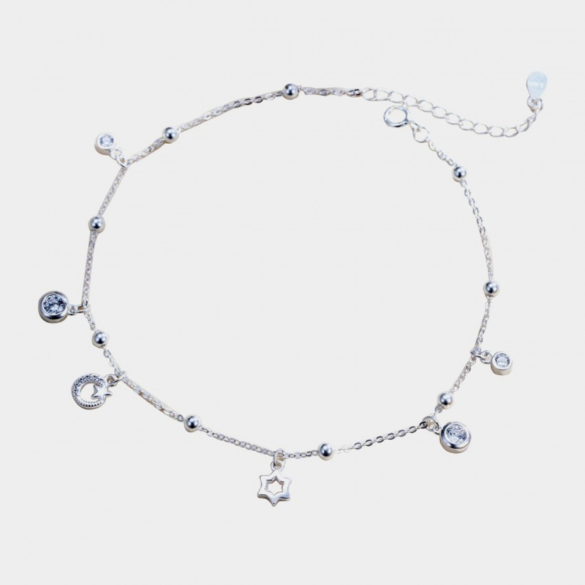 Caromay Star Moon Sun Silver Anklet (H0297)