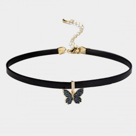 Caromay Attractive Butterfly Blue Choker Necklace (X1932)