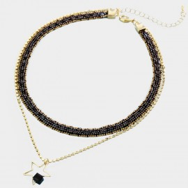 Caromay Double Layer Light Star Champagne-Gold Choker Necklace (X2048)