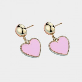 Caromay Modern Heart Pink Earrings (E3547)