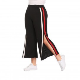 Amtivaya Red-White Striped Side-Slit Black Pant (HY1836)