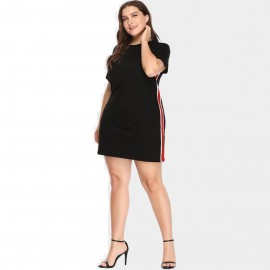 Amtivaya One Piece Red White Side Stripe Black Dress (HY2138)