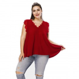 Amtivaya Lace Trip Red Tank Top (HY3037)