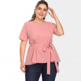 Amtivaya Ribbon Belt Pink Top (HY3046)