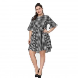 Amtivaya Check One-Piece Black Dress (HY6134)
