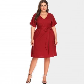 Amtivaya V-Shape Ribbon Tie Red Dress (HY6136)