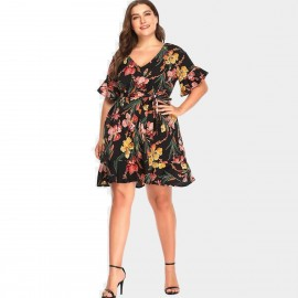 Amtivaya Tropical One-Piece Floral Dress (HY6137)