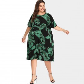 Amtivaya Tropical Leafs Black Dress (HY6138)