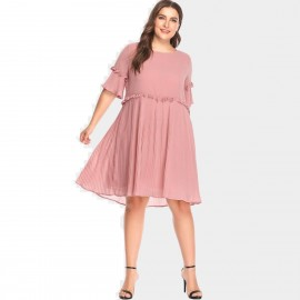 Amtivaya Chiffon Middle-Sleeve Pink Dress (HY6139)