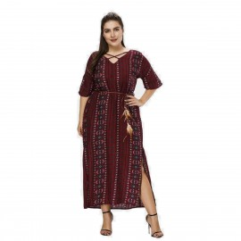 Amtivaya Bohemian Style Ankle-Length Wine Dress (HY8618)