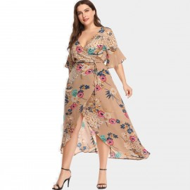 Amtivaya Peony Prints V-Neck Beige Dress (HY8619)