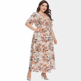 Amtivaya Rosy V-Neck Maxi Apricot Dress (HY8621)