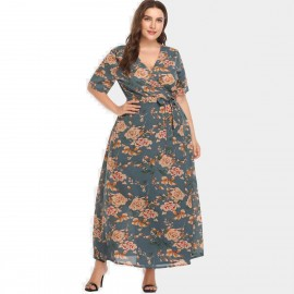 Amtivaya Rosy V-Neck Maxi Green Dress (HY8621)