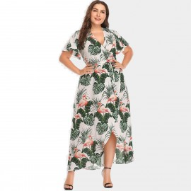 Amtivaya Flamingo Tropical Leaves Prints White Dress (HY8622)