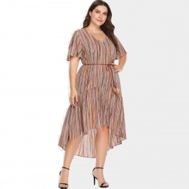 Amtivaya Modern Striped Coffee Dress (HY8625)