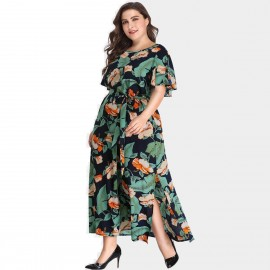 Amtivaya Ankle-Length Side Split Foral Dress (HY8628)