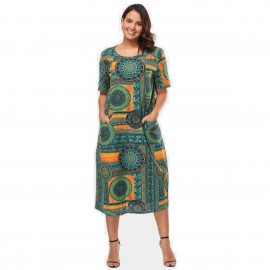 Amtivaya Geometric Shape Green Dress (HY8915)