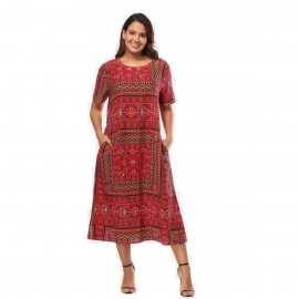 Amtivaya Bohemian Style Geometric Shape Red Dress (HY8918)