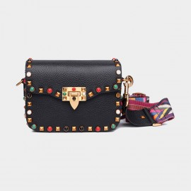 Cilela Rivet Black Shoulder Bag (8062L)