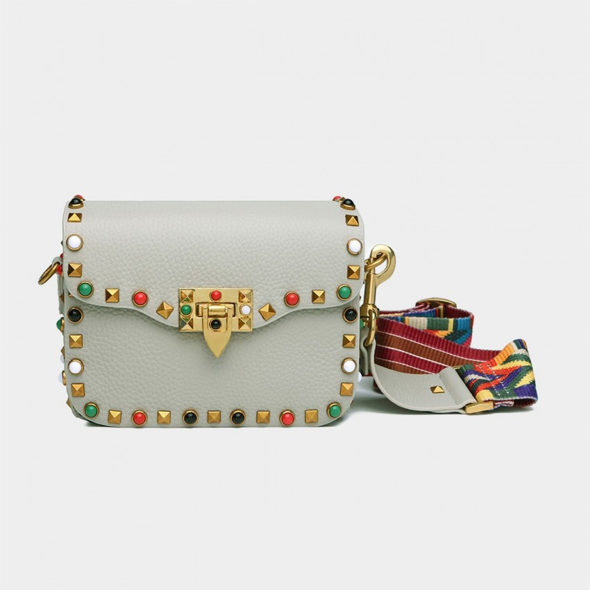 Cilela Rivet White Shoulder Bag (8062S)