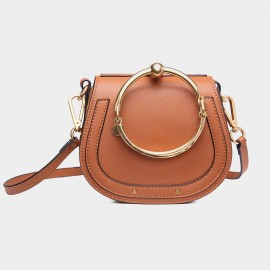 Cilela Metallic-Hoop Brown Shoulder Bag (CR0088L)