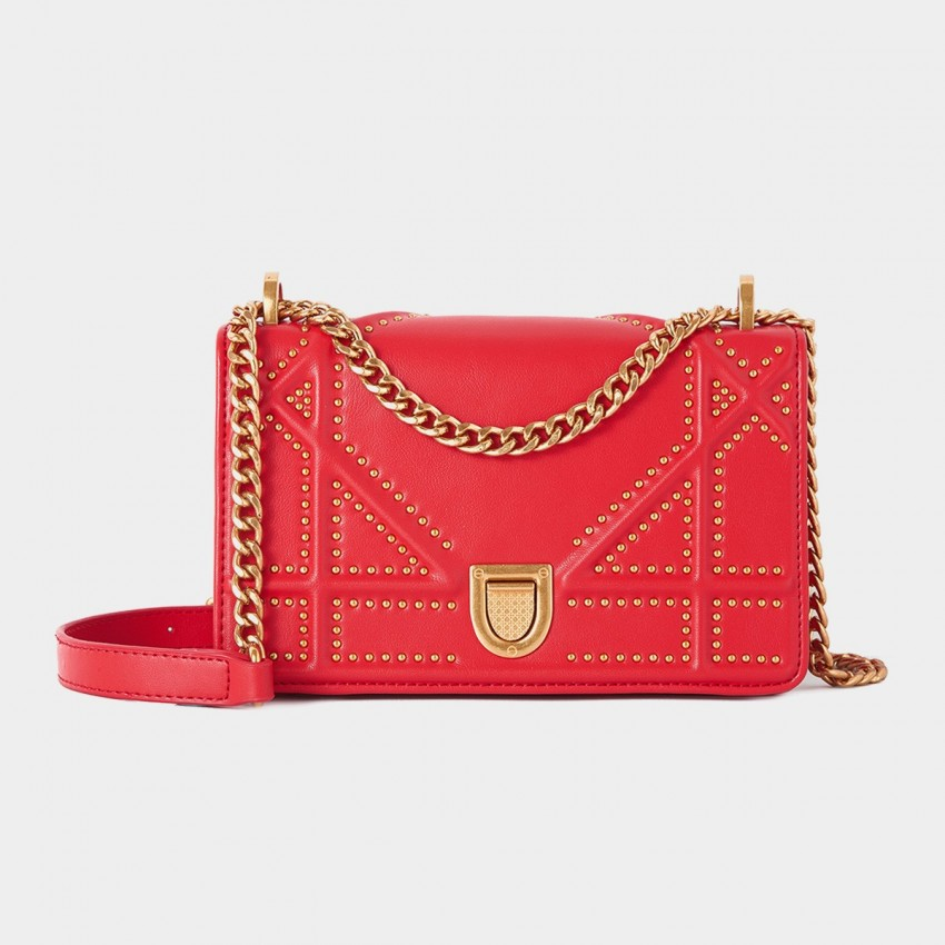 Cilela Bead Stud Red Shoulder Bag (CR0113)