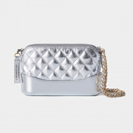 Cilela Diamond-Embossed Silver Shoulder Bag (CR0501S)