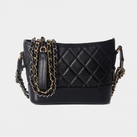 Cilela Diamond Quilted Classic Black Shoulder Bag (CR0516)