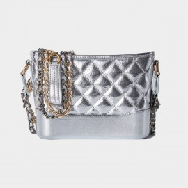 Cilela Diamond Quilted Classic Silver Shoulder Bag (CR0516)