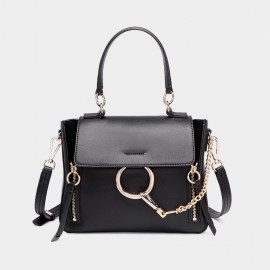 Cilela Ring Loop Black Shoulder Bag (CR0815)