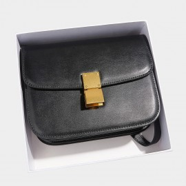 Cilela Classic Flodover Black Shoulder Bag (CR0923L)