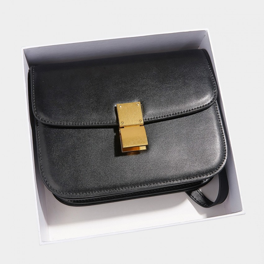 Cilela Classic Flodover Black Shoulder Bag (CR0923S)