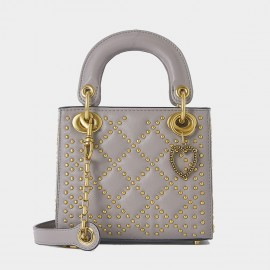 Cilela Diamond Rivet Grey Top Handle (CR1201L)