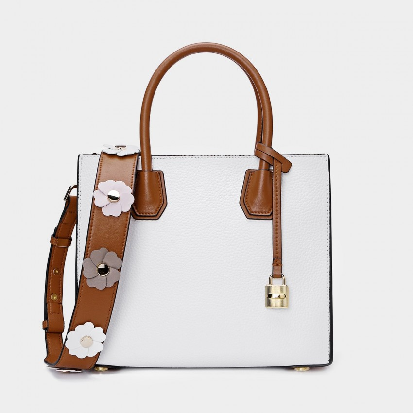 Cilela Floral Leather Belt White Tote (CR26186L)