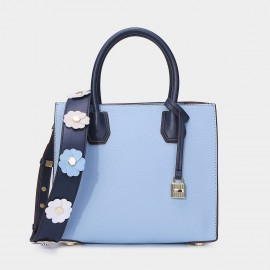 Cilela Floral Leather Belt Blue Tote (CR26186S)