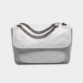 Cilela Leather Flap White Shoulder Bag (CR3523L)