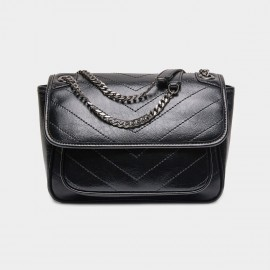 Cilela Leather Flap Black Shoulder Bag (CR3523S)