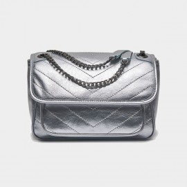 Cilela Leather Flap Silver Shoulder Bag (CR3523S)