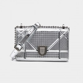 Cilela Boxy Large Silver Shoulder Bag (CR0410)