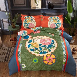 AIX Oriental Flower Green Bed Linen (YGM17002)