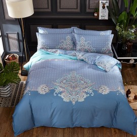 AIX Contemporary Floral Pattern Blue Bed Linen (YGM17003)
