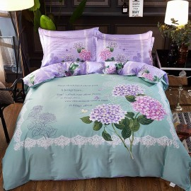 AIX Floral And Quotes Green Bed Linen (YGM17009)