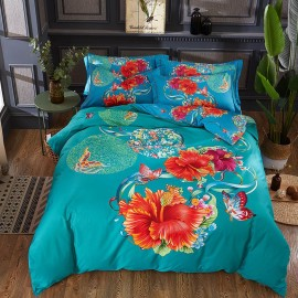 AIX Multitone Floral Printed Blue Bed Linen (YGM17010)