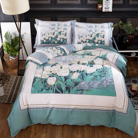 AIX Blooming Floral Print Blue Bed Linen (YGM17013)