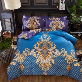 AIX Multitone Luxurious Pattern Blue Bed Linen (YGM17014)